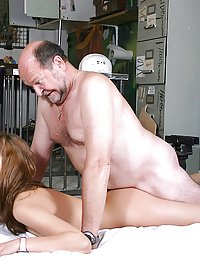 Tenage babe enjoys an older cock inside her tight pussy