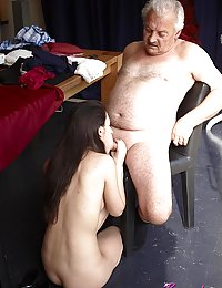 A hot young slut takes an ols mans cock in her wet pussy