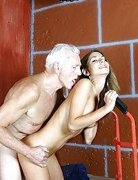 Brunette enjoys stiff senior cock inside her tight slit