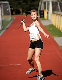 Javelin throwing sweetheart rubs her tight soaked cooter