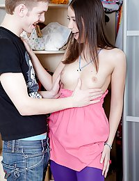 Excited brunette teen babe Karen suck and fuck a big dick
